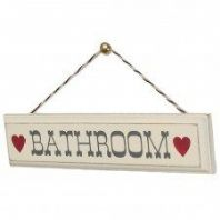 Cream Shabby Chic Wooden Bathroom Sign